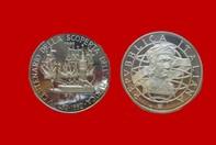 cb0040d580 CRISTOFORO COLOMBO CONIO 1989 MONETA 500 LIRE D'ARGENTO INCASTONATA IN  PORTACHIAVI GIOIELLO UNICO