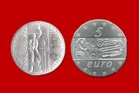7962299e68 EUROPA DEL LAVORO 5 EURO 2003 D'ARGENTO INCASTONATA IN PORTACHIAVI GIOIELLO  UNICO